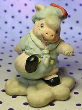 1994 Cast Art Kristen Pig Dressed in Sailor Suit Outfit Beret on Cloud Figurine