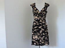 MAX AND CLEO BLACK MULTI FLORAL SLEEVELESS EMPIRE WAIST DRESS SZ XS