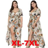 Women Oversize V Neck Short Sleeves Cocktail Evening Gown Party Long Wrap Dress