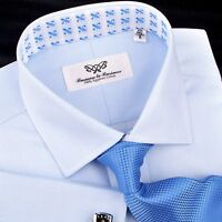 Light Blue Textured Formal Business Dress Shirt Sexy Floral Inner Lining Spread