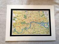 Antico Mappa Stampa Londra Città Ferroviario Ferrovia Transport Arte Vintage