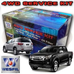 Wesfil Air/Oil/Fuel Filter Service Kit For Isuzu D-Max 3 0L TD 4JJ1 06/12 - ON