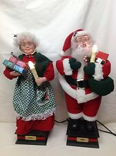 """Vintage Holiday Creations 24"""" Santa Claus and Mrs Claus Action Set Works Great"""