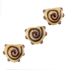 Brown Heart Lampwork Swirl and Dot Glass Beads 13x15mm (B21/1)