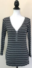 Express One Eleven Gray Black 1/2 Zip 3/4 Sleeve Striped Knit Casual Top Size L