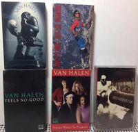 VAN HALEN & DAVID LEE ROTH Lot of 5 Cassettes EDDIE VAN HALEN SAMMY HAGAR AC/DC
