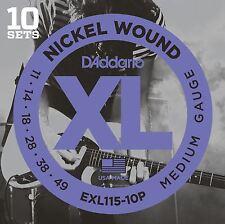 D'addario exl115-10p le corde per chitarra elettrica 10 Set VALUE PACK MEDIUM 11-49