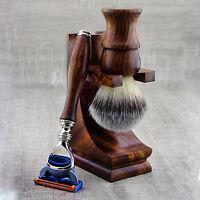 Holz Rasierset für Herren Mit Synthetisch Haarbürste & 5 Rand Rasierklinge