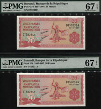 TT PK 27d 1997-2007 BURUNDI BANQUE 20 FRANCS PMG 67 EPQ 2 SEQ GEMS IN A ROW!