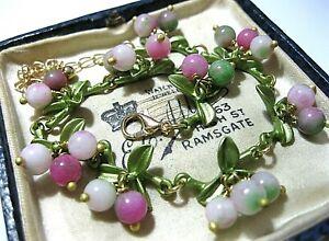Gorgeous Vintage Style Art Deco Agate Stone BEAD Berries Enamel BRACELET New