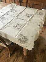 "Vintage Linen Cream Square Tablecloth With Cutwork Detail 40"" Sq"