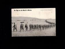 USA Mexico Border War Pharr Texas Bordertown 1916 Boys On March in Mexico  9k