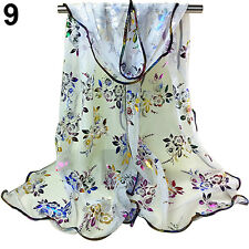 HK- Women Floral Embroidered Tulle Scarf Long Soft Sheer Wrap Shawl Stole Sanwoo