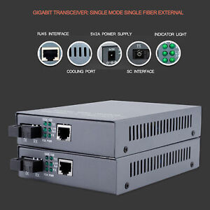2 PCS Fiber Optic To Ethernet Converter SC10/100/1000M Gigabit Fiber Optic Media