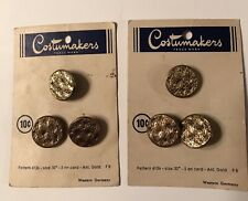 "2 Cards Vintage Buttons 6 Total Gold 3/4"" Costumakers"
