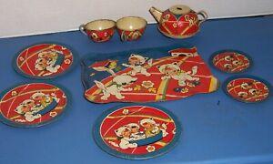 Vintage Tin Ohio Art Childs Dish Set Bunnies Dressed Like Little Girls