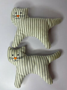 """Ikea Leka Cat Baby Comforter Teether With Rattle x2 Grey Stripes 6"""" By 4.5"""" Size"""