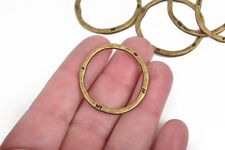 5 Bronze Hammered Rings, Circle Washer Connector Links, Hammered 32mm chb0523