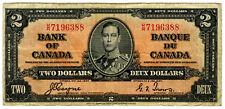 1937 $2 BANK OF CANADA BANKNOTE~CANADIAN TWO DOLLARS~KING GEORGE VI~1930s~PREWAR