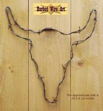 Steer Head - Cow bull texas sculpture hanging barbed wire art western decor wall