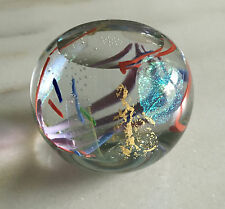 "1992 DONALD CARLSON 3.25"" Paperweight w/Controlled Bubbles, Shimmer,Multi-Color"