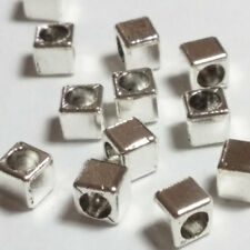 25pcs Antique Silver Cube Beads Metal Spacers Jewellery Supplies 4mm B03791