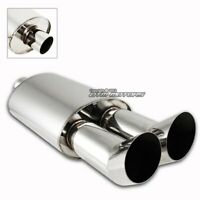 """3"""" DTM Style Dual Tip T-304 Stainless 2.5"""" Inlet Exhaust Muffler Universal"""