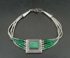 Malachite Green Stone and Beads Sterling 925 Silver Multi Strand Bracelet