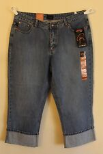 RIDERS Womens blue jean low-rise capris, cropped, mid-calf pants. 13/16 M. NWT