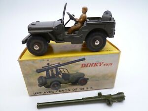 VINTAGE FRENCH DINKY TOYS 829 JEEP 106SR GUN CARRIER IN ORIGINAL BOX 1964-71