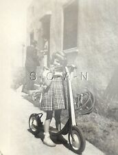 Original Vintage 30s Large Toy RP- Young Girl Rides Big Streamlined Toy Scooter