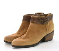 Clarks Artisan Suede Leather Booties Ankle Boots Buckle Strap Tan Women Sz 6.5 M
