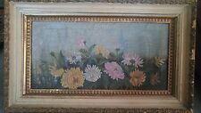 Antique Victorian Still Life Bouquet of  Flowers Oil Painting C.1880