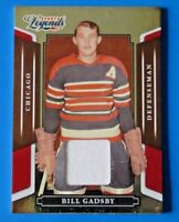 2008 DONRUSS SPORTS LEGENDS BILL GADSBY RELIC HOCKEY CARD #34 ~ RED MIRROR /500