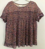 Anthropologie Deletta Floral Boho Lined Flowy Loose Shirt Womens M