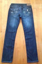 True Religion Women's Bobby Dark Distressed Jeans Sz 30  Relaxed w/Stretch