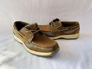 Thom McAn Mens Size 9.5M Brown Kellan 3 Leather Lace Up Dock Boat Shoes
