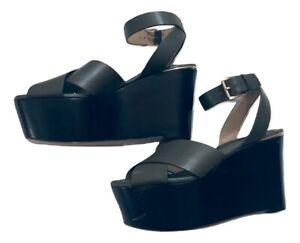 Michael Michael Kors Abbott Mid Wedge Leather Platform Sandals Olive Size 6