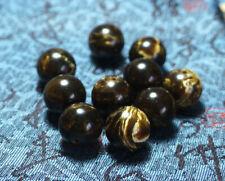 14mm Natural Chinese Black Yellow Amber Round loose beads Gemstone 10pcs