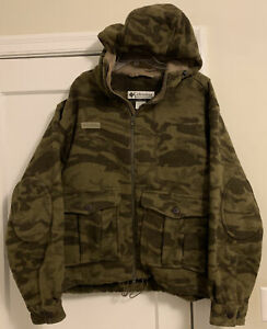 RARE Columbia Logo Brown Camo Wool Blend Hooded L/S Jacket Men's Sz XL!