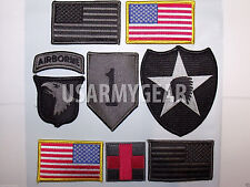 Set of 9 US Army Embroidered American Flag Military Uniform Patch Airbone