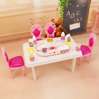 Dining Table Chair Doll Furniture Set Cabinet Toys for Barbie Doll Kitchen Mini