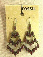 Fossil Berry Native Chandelier Earrings Goldtone Red Stones New! NWT