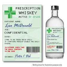 Personalised WHISKEY Prescription bottle label Sticker Birthday Wedding Gift 137