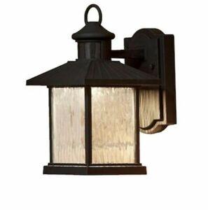 allen + roth Midnight Valley 11.25'' Black Motion LED Outdoor Lantern Wall Light