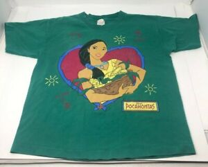 Pocahontas 1990s Vintage Disney Single Stitch T Shirt YOUTH Large Green