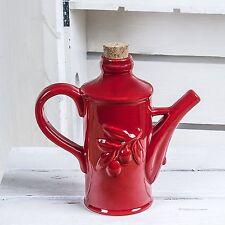 Red Ceramic Olive Oil Dispenser Bottle - Oil Dispensing Cruet -Pretty Embossed