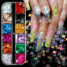 Nail Glitter Sequins Holographic Laser Butterfly Flakes Nail Art 3D Decoration *