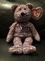 "TY Beanie Baby ""USA"" the TY 2000 patriotic multicolor bear, DOB 07/04/2000"