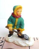 Grandeur Noel Village Victorian Boy Shoveling Snow Christmas 2001  miniature